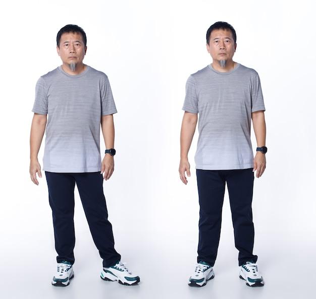 Collage voller länge der 50er 60er jahre asiatischer älterer mann trägt graue relax-t-shirt-hose und sportschuhe. älterer mann steht lässig und schaut in die kamera über weißem hintergrund isoliert