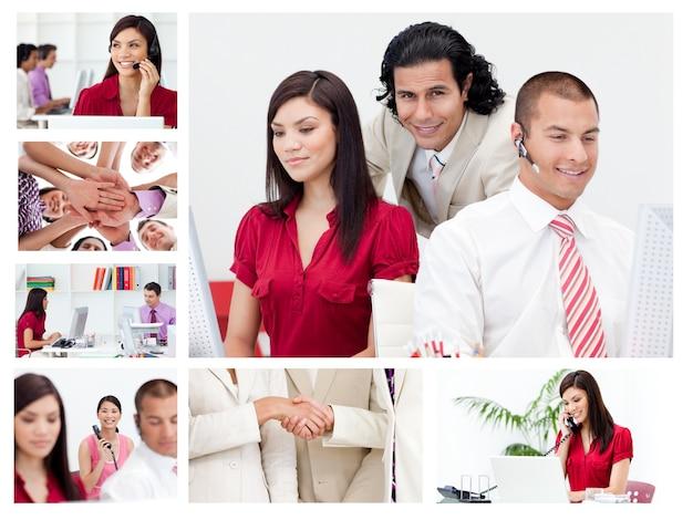 Collage von arbeitsgeschäftsleuten