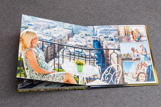 Collage von bildern eines personenlebens, fotobuch-urlaubsreisen in italien