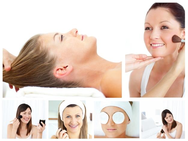 Collage von den attraktiven frauen, die an make-up setzen
