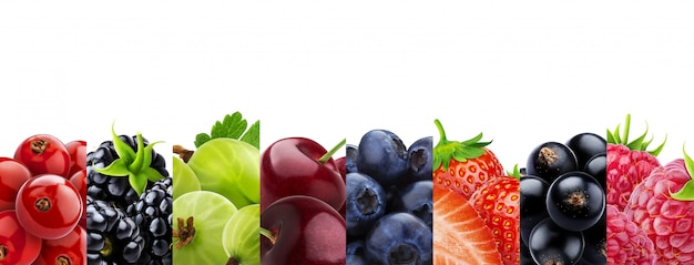 Collage von den früchten lokalisiert auf weißem hintergrund mit kopienraum