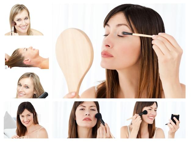Collage von den schönen frauen, die ein make-up setzen
