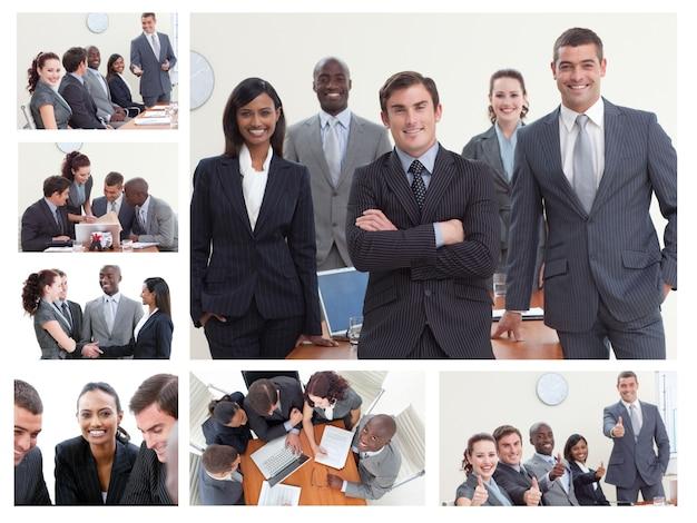 Collage von den wirtschaftlern, die in den verschiedenen situationen aufwerfen