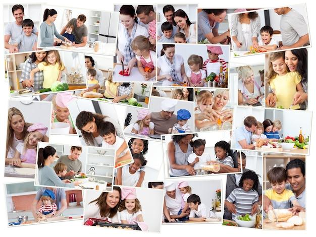 Collage von erwachsenen, die mit ihren kindern kochen