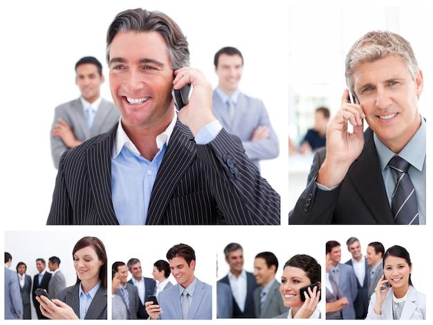 Collage von geschäftsleuten, die mobiltelefone verwenden