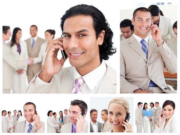 Collage von geschäftsleuten, die telefone verwenden