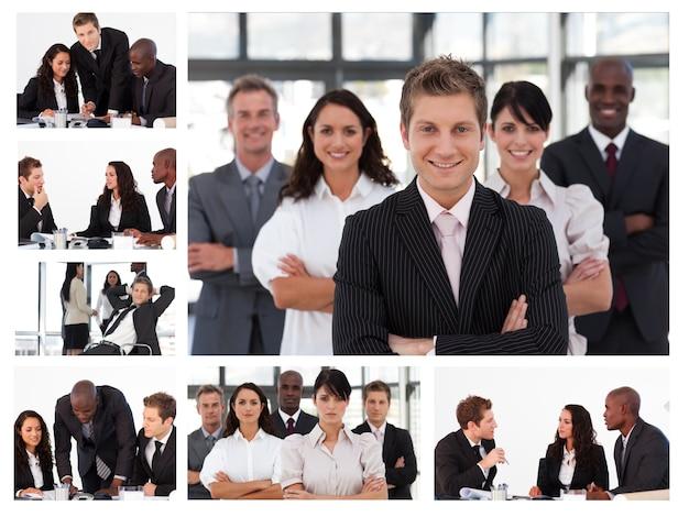 Collage von jungen wirtschaftlern in den verschiedenen situationen