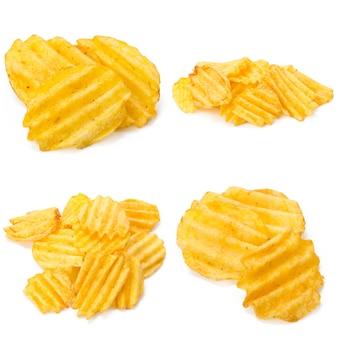 Collage von leckeren kartoffelchips