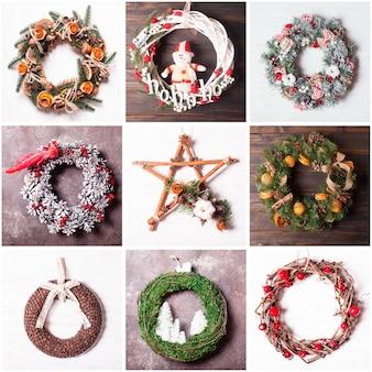 Collage von neun weihnachtsfeiertagen-kranz für heimtextilien