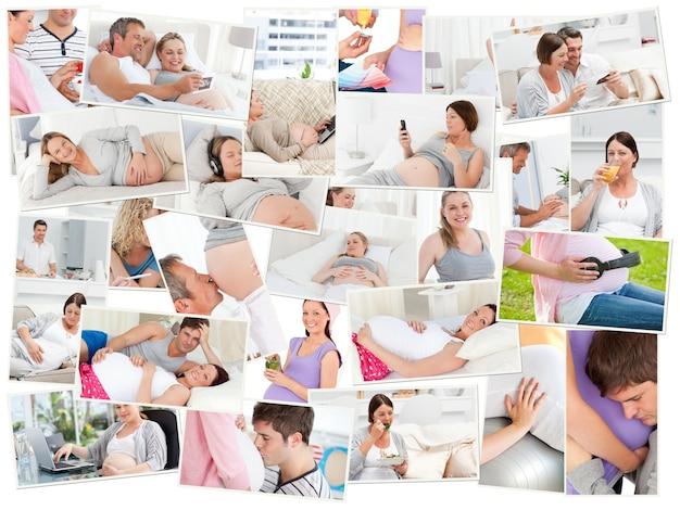 Collage von schwangeren frauen