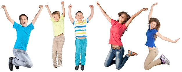Collage von süßen kindern, die springen