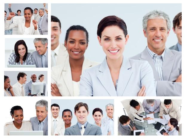 Collage von wirtschaftspersonen von mittlerem alter in den verschiedenen situationen