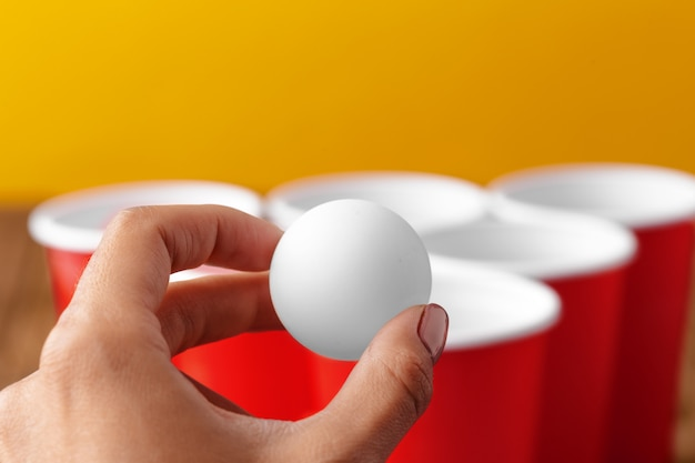 College party sport, bier pong