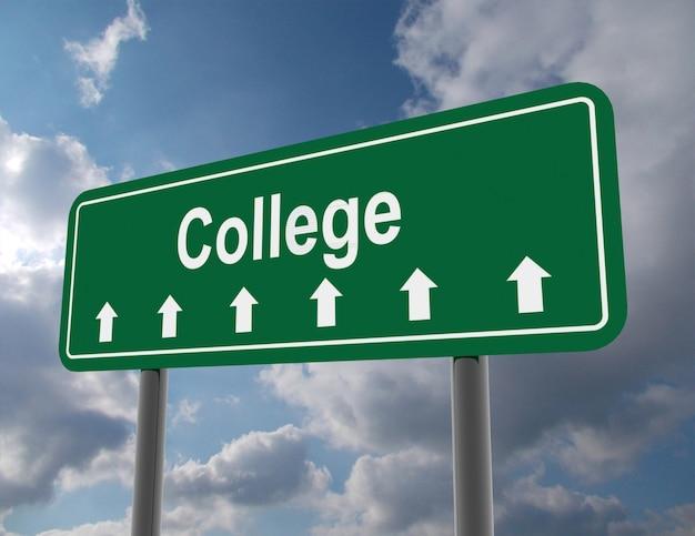 College-straßenschild. 3d gerenderte darstellung