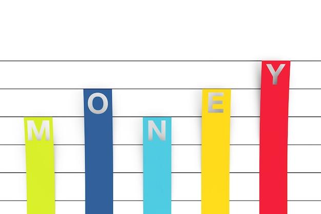 Color column flat graph chart infografiken papierelemente mit geldzeichen auf weißem hintergrund. 3d-rendering