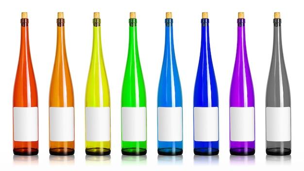 Colorfuls von weinflaschen lokalisiert auf weißem hintergrund. getränkebehälter in langer form mit leerem etikett. (beschneidungspfad)