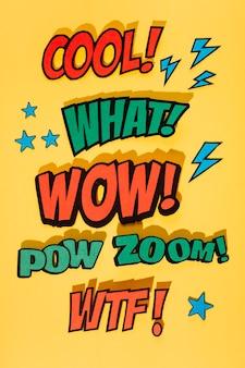 Comic-buch-soundeffektausdruck auf gelbem hintergrund mit schatten
