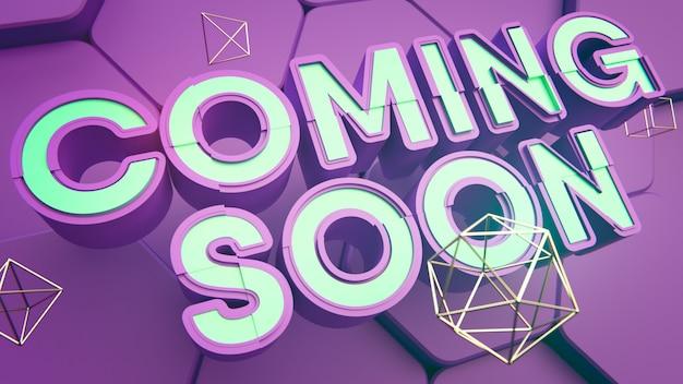 Coming soon titel. lila und blau. 3d-text. hex hintergrund. goldene rahmenstruktur 3d illustration