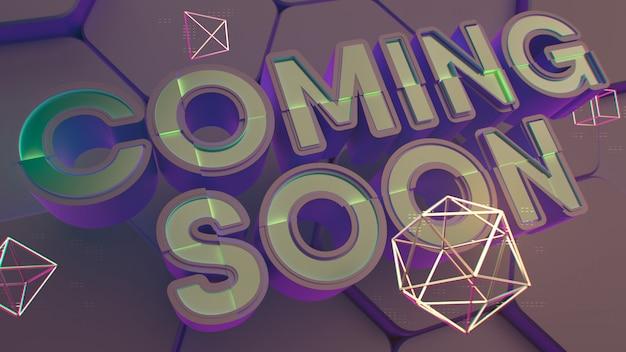 Coming soon titel. schwarzer 3d text hex hintergrund. polygon goldene rahmenstruktur