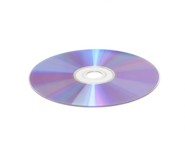 Compact disc mit weißem hintergrund
