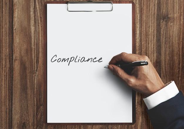 Compliance-richtlinie verfahren konformität obedience konzept