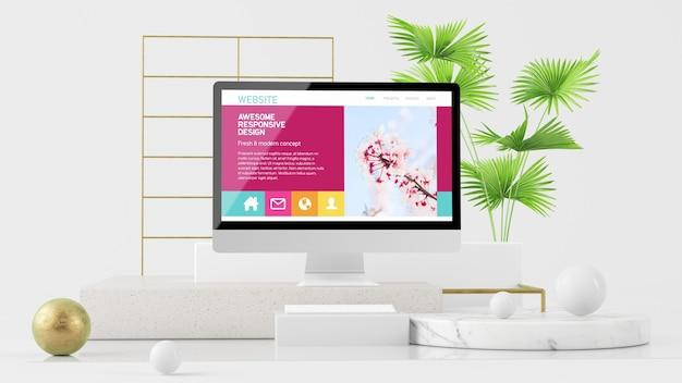 Computer auf abstrakter plattform verspotten 3d-rendering