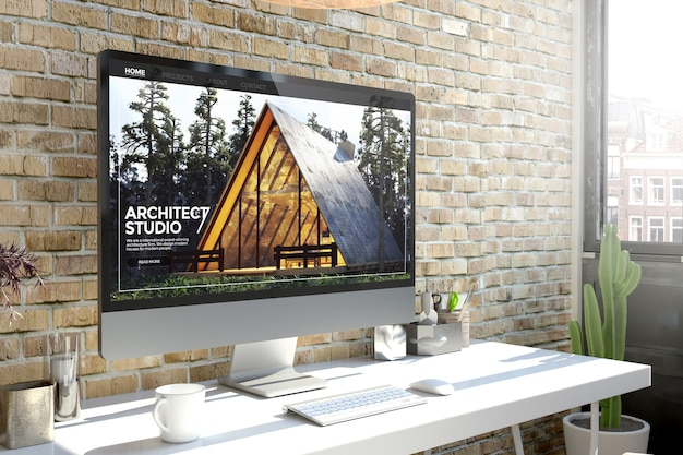 Computer auf der desktop-3d-rendering-architektur-website