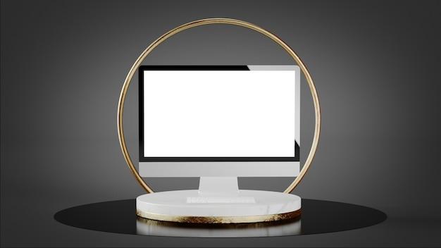 Computer auf luxusplattform mit goldenem ring verspotten 3d-rendering