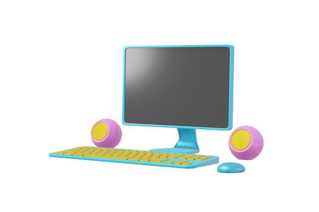 Computer-cartoon-stil isoliert. realistisches konzept spielzeugmonitor, lautsprecher, tastatur 3d-rendering.
