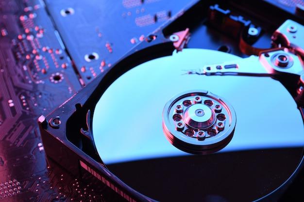 Computer festplattenlaufwerk in nahaufnahme