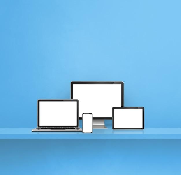Computer, laptop, handy und digitaler tablet-pc - blauer wandregalhintergrund. 3d-illustration