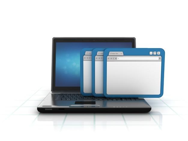 Computer laptop mit internetbrowser