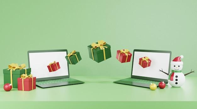 Computer leerer bildschirm und weihnachtsdekorationen