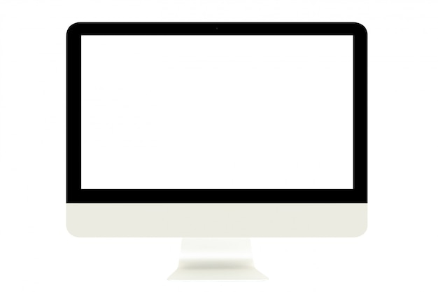 Computer-monitor mit dem leeren weißen bildschirm lokalisiert auf weißem hintergrund.