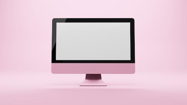Computer monoblock monitor anzeige isoliert, 3d-rendering