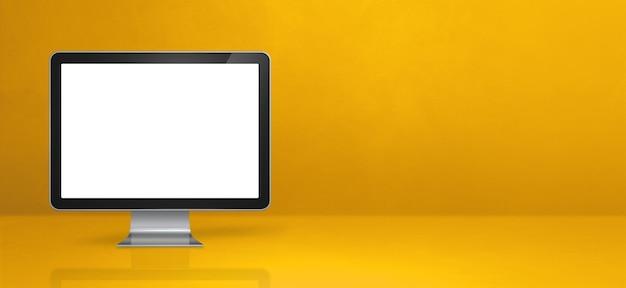 Computer pc - gelbes schreibtischbanner.