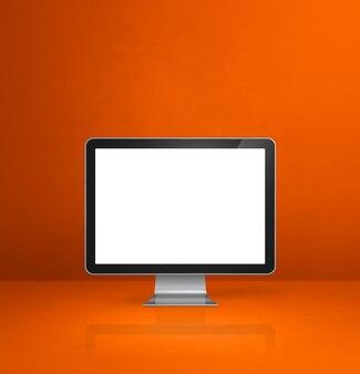 Computer-pc - orange büroschreibtischhintergrund. 3d-illustration