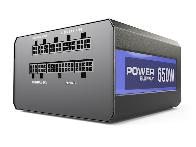 Computer schwarzes netzteil lokalisiert auf weißem hintergrund. 3d illustartion