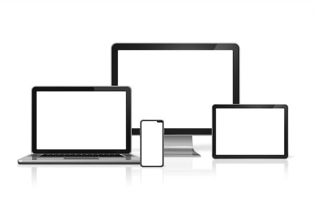 Computer und telefon stellen das modell ein, das auf weißem hintergrund mit leeren bildschirmen lokalisiert wird. 3d render