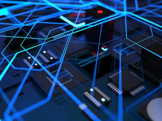 Computerchips und teile in einem hellblauen schein