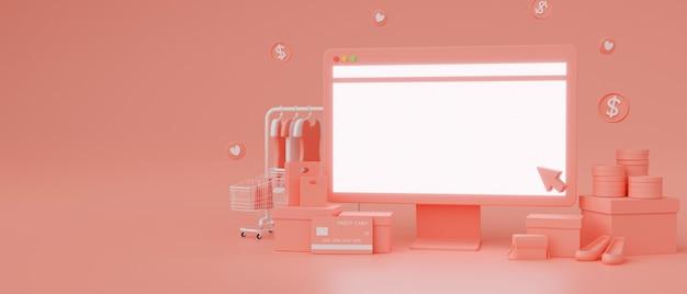 Computermonitor mit mockup-bildschirm und online-shop auf rosafarbenem hintergrund online-shopping