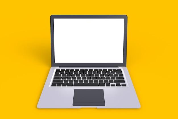 Computernetzwerk-verbindung, lokalisierter laptop mit leerem raum auf gelbem hintergrund, 3d ren
