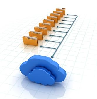 Computerordner mit cloud computing