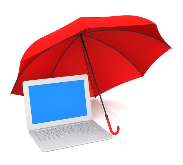 Computerschutz und roter regenschirm. 3d-rendering