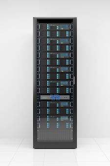 Computerserver-rack auf weißem hintergrund.