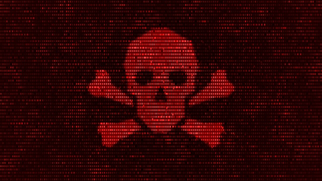 Computerserver wurde von hackern mit malware angegriffen, binärer todesschädelsymbol-warnbildschirm im netzwerkdatensicherheitssystem, futuristische digitale server-cybersicherheitsbedrohungen 3d-illustration