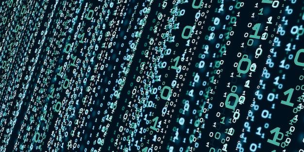 Computersystem-informationskonzept abstrakte binärcode-technologie der hintergrund mit binärdaten, die von der oberseite der 3d-illustration des digitalen binärdatenbildschirms fallen