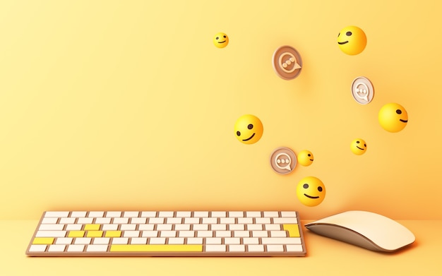 Computertastatur mit gelbem lächelnschlüssel und lächelngesicht auf gelbem hintergrund