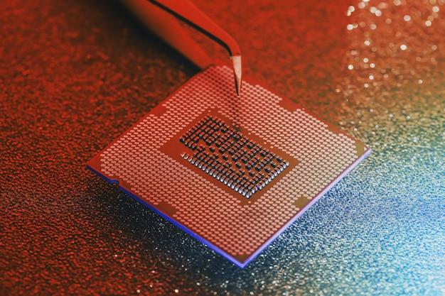 Computerzentralprozessor ersetzen. wartung, aktualisierung der hardware des motherboards.