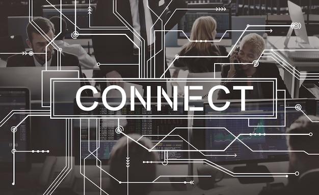 Connect associated social networking togetherness-konzept